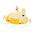 cute koala character swimming on inflatable ring vector image