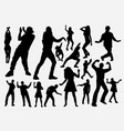dancer and rapper man and woman silhouette vector image