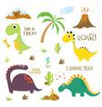 dinosaur footprint volcano palm tree stones bone vector image vector image