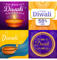 diwali banner set cartoon style vector image