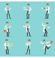 Doctor Work Process Set Of Hospital Related Scenes vector image vector image
