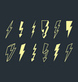electric lightning set powerful yellow flashes in vector image