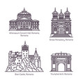 famous tourist landmarks romania in thin line vector image