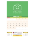 February 2017 Wall Monthly Calendar for 2017 Year vector image vector image
