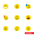 flat icon gesture set of joy winking laugh and vector image vector image