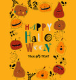 frame with cartoon pumpkins on yellow background vector image vector image