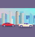futuristic skyline with transports on roads vector image
