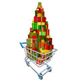 gift present trolley shopping cart vector image