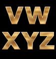 Gold Letters Set V-Z vector image