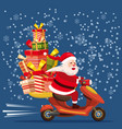 happy santa claus with a gifts box riding a vector image vector image