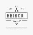 hipster logo for barber shop with scissors vector image