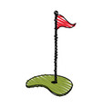 hole with flag golf icon image vector image vector image