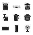 Household appliances set icons in black style Big vector image vector image