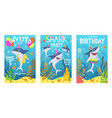 invitations card with cute sharks color greeting vector image
