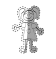 Kid girl draw vector image