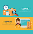 logistic services with support agent and computer vector image