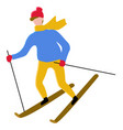 man leading active lifestyle skiing character vector image vector image