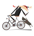 man on the bicycle and aggressive dog vector image vector image