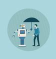 modern robot holding umbrella over business man vector image vector image