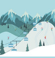 mountain vacation lift with blue cabins vector image