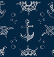 nautical theme blue seamless pattern vector image vector image