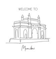 one continuous line drawing gateway india vector image vector image