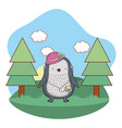 penguin with female hat and walkman in camp vector image