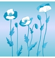 Poppy in blue style vector image vector image