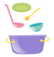pot and other kitchen utensils vector image