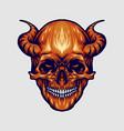 red devil skull horn vector image