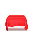 red table cloth isolated on white background vector image vector image