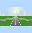 road leading to city standing at horizon vector image vector image