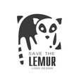 save the lemur logo design protection of wild vector image vector image