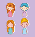 set of cute kids cartoons vector image vector image