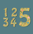 set of floral numerals with hearts vector image