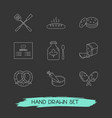 set of food icons line style symbols with syrup vector image