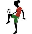 silhouette a teenage girl playing football vector image vector image