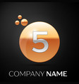 silver number five logo gold dots splash bubble vector image