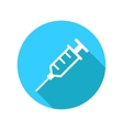 syringe flat icon with long shadow vector image vector image