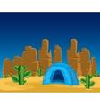 Tent in desert vector image vector image