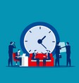 time management concept business clock office vector image vector image
