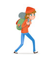 woman backpacker walking traveler hiking active vector image