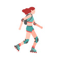 woman on roller skates simple young character vector image