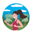woman running portrait round icon vector image vector image