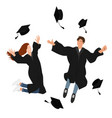 young graduate students girl and guy in graduation vector image vector image