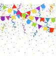 festive flags garlands and exploding paper bunting vector image