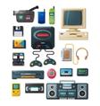 Flat retro gadgets of 90s vector image