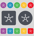 snow icon sign A set of 12 colored buttons Flat vector image