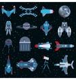 Spacecrafts flat icons equipment set Cosmonaut vector image
