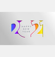 2021 happy new year card in paper cut style vector image